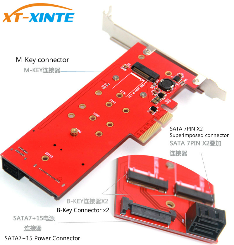 3 Interfaces M 2 NVMe SSD NGFF to PCIE X16 Riser Card M Key B KEY Interface Card Support PCI Express 3 0 4X M2 SATA in Add On Cards from Computer Office