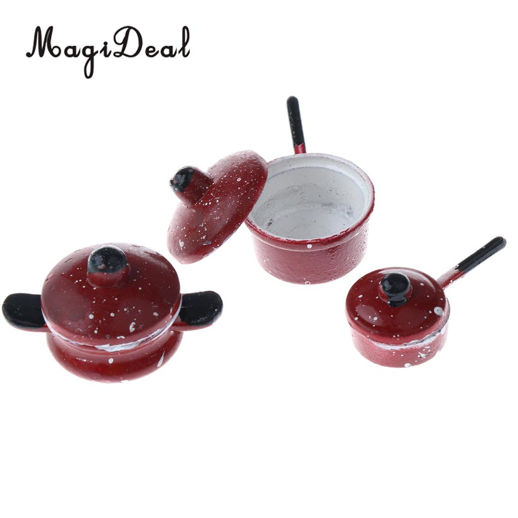 MagiDeal 1Set 1/12 Dollhouse Miniature Cookware Kitchenware Furniture Metal Spotted Pan Kitchen Decor For Doll House House Model