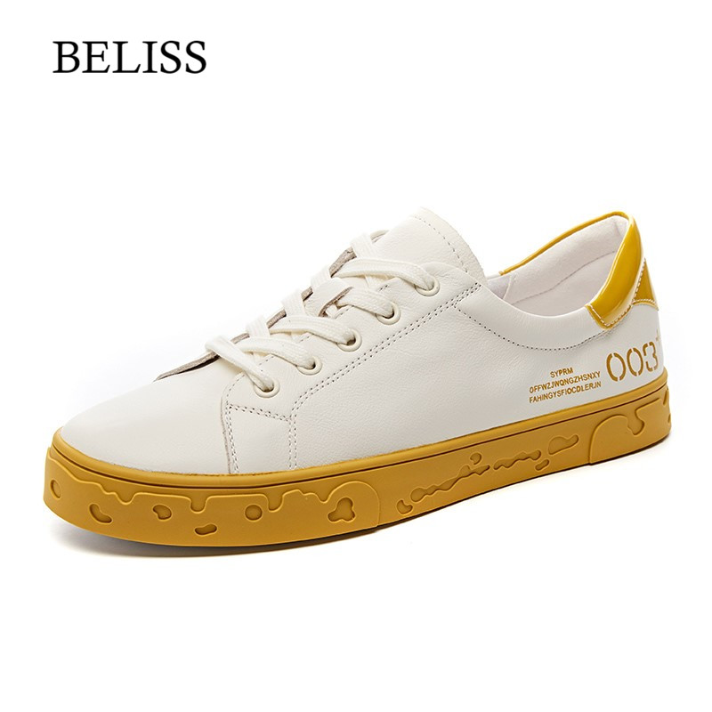 BELISS Genuine Leather Flats Shoes Women Loafers Round Toe Summer Casual Ladies Shoes Lace Up Women
