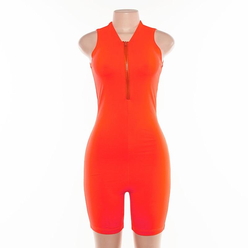 Women Slim Zipper Sleeveless Rompers Fitness Casual Ladies Jumpsuit Gym Wear Women Bodysuit 2019 Triathlon Suit Neon Green