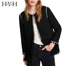 HYH HAOYIHUI Commuting Elegant lovely Double Tassel Round Neck Long Sleeve Twill Contrast Tweed Jacket