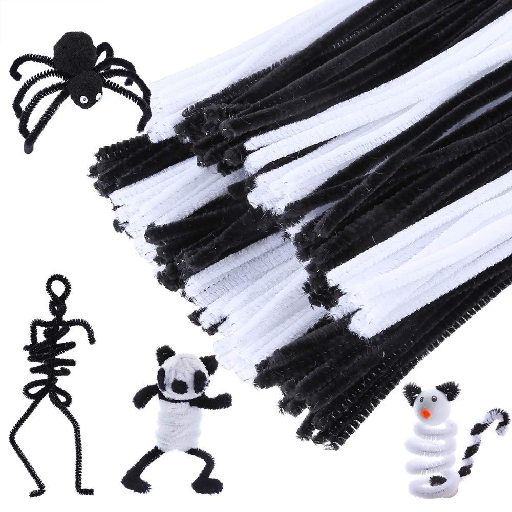 200 Pieces Black And White Pipe Cleaners Chenille Stem 6 Mm X 12 Inch Safe And Humanized Design For DIY Art Craft Decorations
