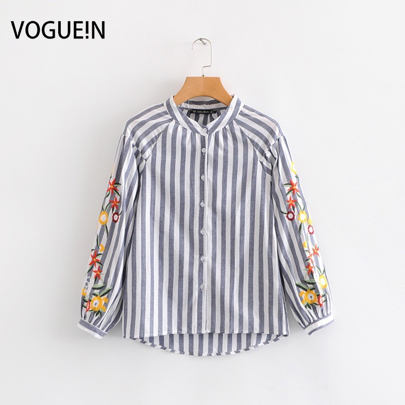 VOGUEIN New Womens Vintage Embroidery Floral Gray Striped Print   Blouse     Shirt   Tops Wholesale
