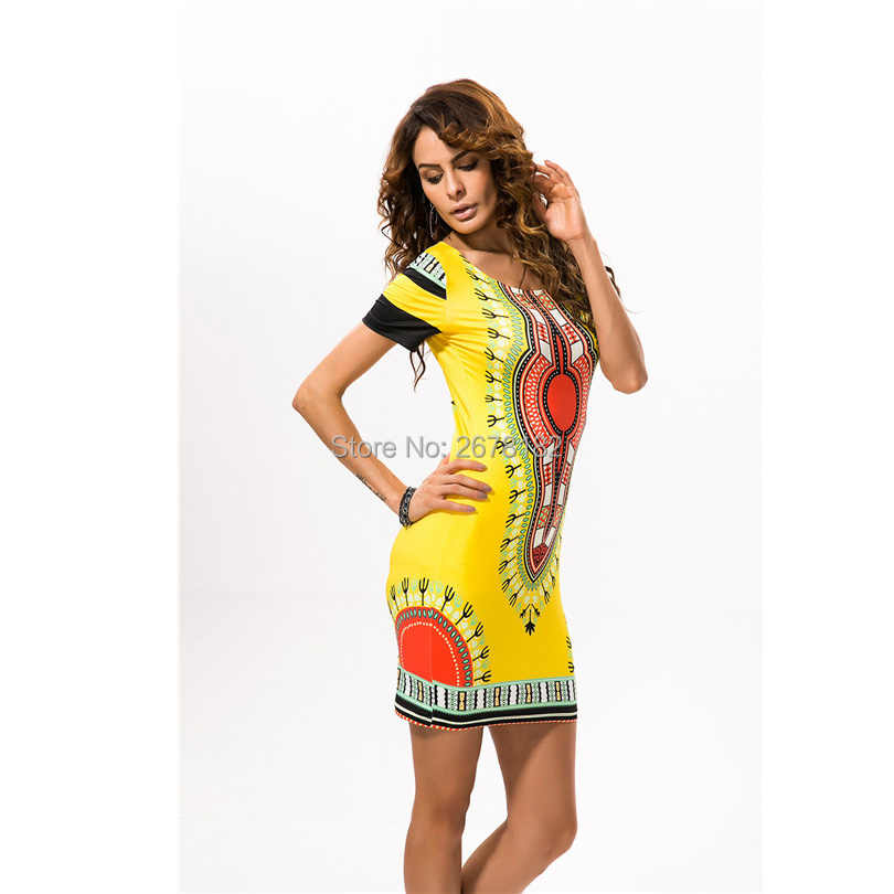Dashiki African Dresses For Women 2019 Traditional African Print Clothing Blue Red Yellow Pluse Clothes Summer Style Dress