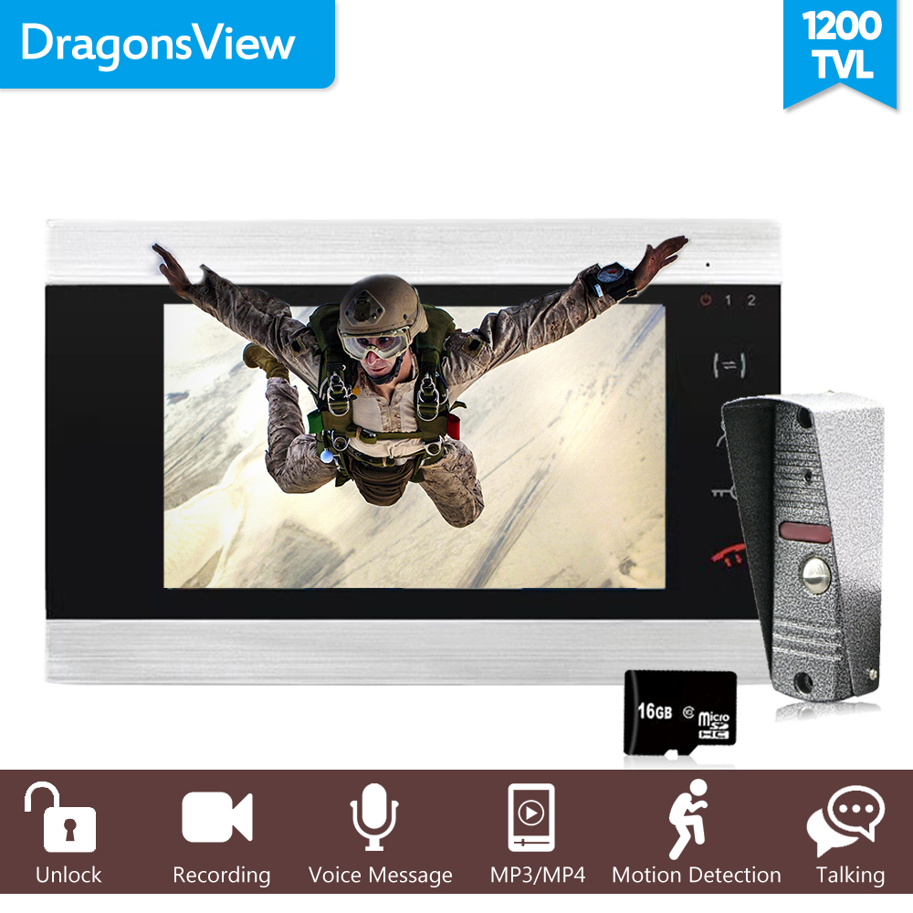 "Image 2 - Dragonsview 7"" Wired Video Intercom System Door Phone Recording SD Card 16GB Metal Doorbell Intercom 1200TVL Motion DetectionVideo Intercom   -"