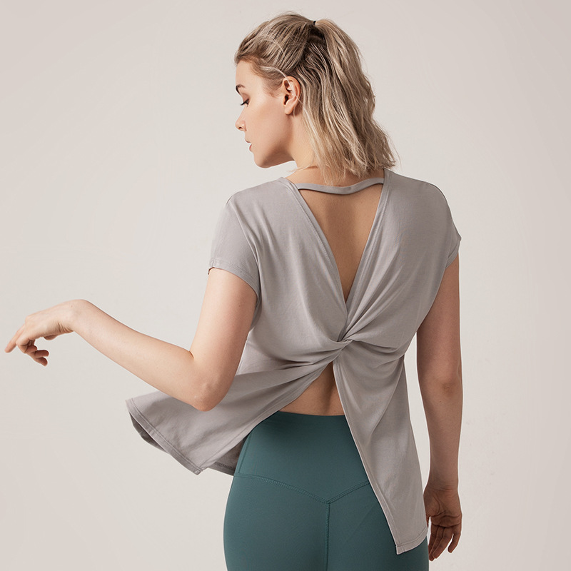 Women's Blouse Workout Tops Sports Wear Gym T-shirt Open Back Yoga Top Twist Back Sport Blouses Short Sleeve Fitness Shirt