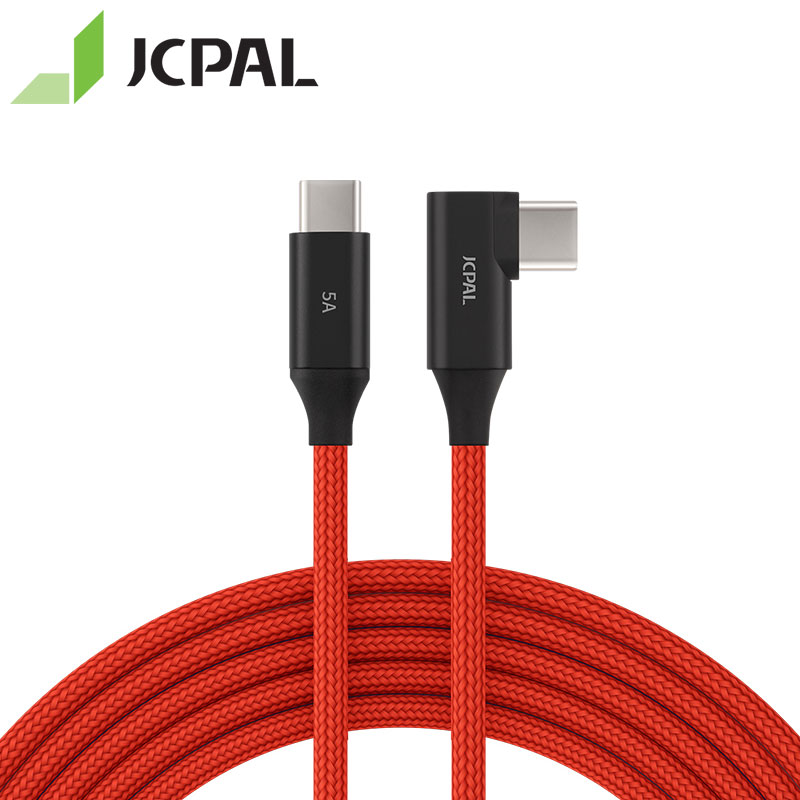 JCPAL FlexLink USB-C Cable 100W Type-C PD Charge Cable 90-degree Connector 2M