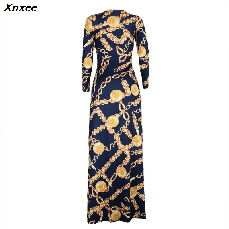 Sexy design golden chain print femme vestidos women summer dress riche robe african clothing maxi long dress Xnxee in Dresses from Women 39 s Clothing