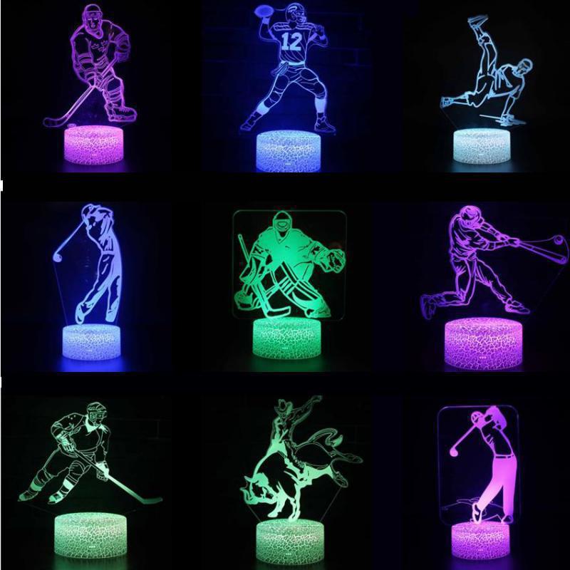 3d Led Ice Hockey Player Led Lamp Usb Visual Luminaria Bedside Nightlights For Kids Gifts Baby Sleeping Lighting Sports Decor