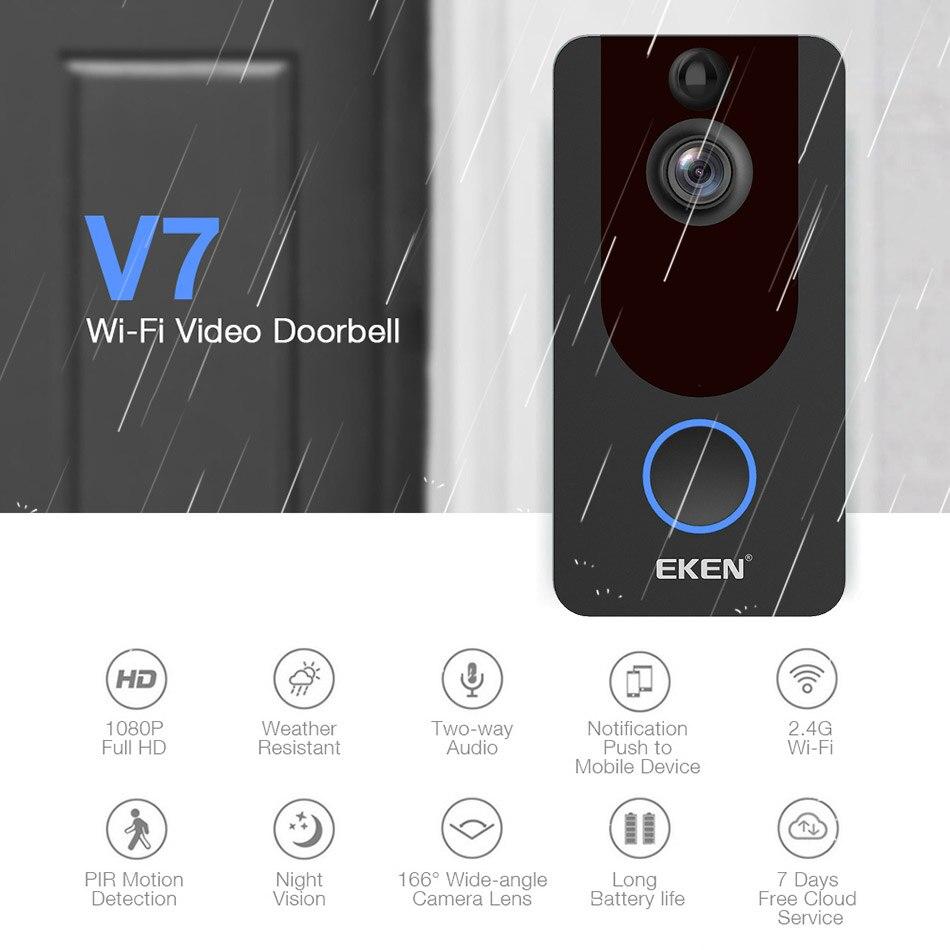 EKEN V7 HD 1080P смарт WiFi видео дверной звонок камера визуальный домофон ночное видение IP дверной звонок беспроводная камера безопасности