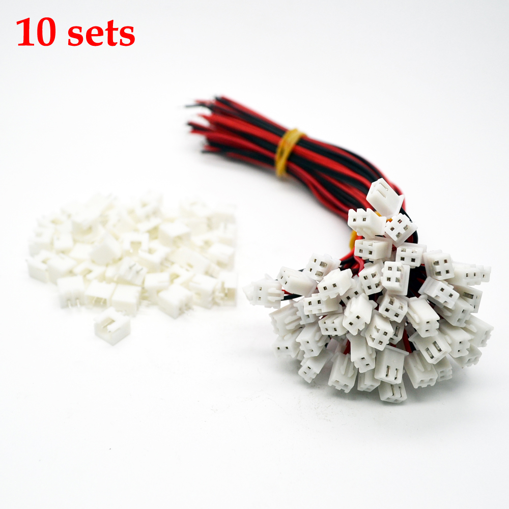 10 Sets/Lot 26AWG JST XH2.54 2 Pin Connector Wire Cable 100mm Length Male Female Plug