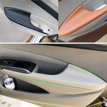 4 قطعة سيارة التصميم ستوكات جلدية الداخلية الباب غطاء لوحة لمسند الذراع تريم لهوندا سيتي 2008 2009 2010 2011 2012 2013 2014
