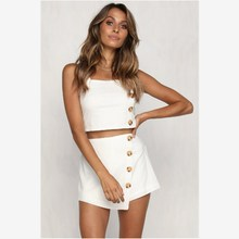 Sexy Women Sleeveless Camisole Crop Top Shorts Set Button Clubwear Ladies Summer Casual
