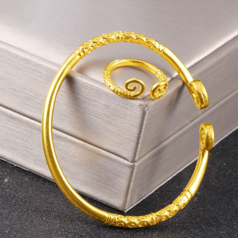 Вьетнам аллювиальное золото Модный индивидуальный дизайн благоприятное облако Обезьяна Король Открытое кольцо браслет