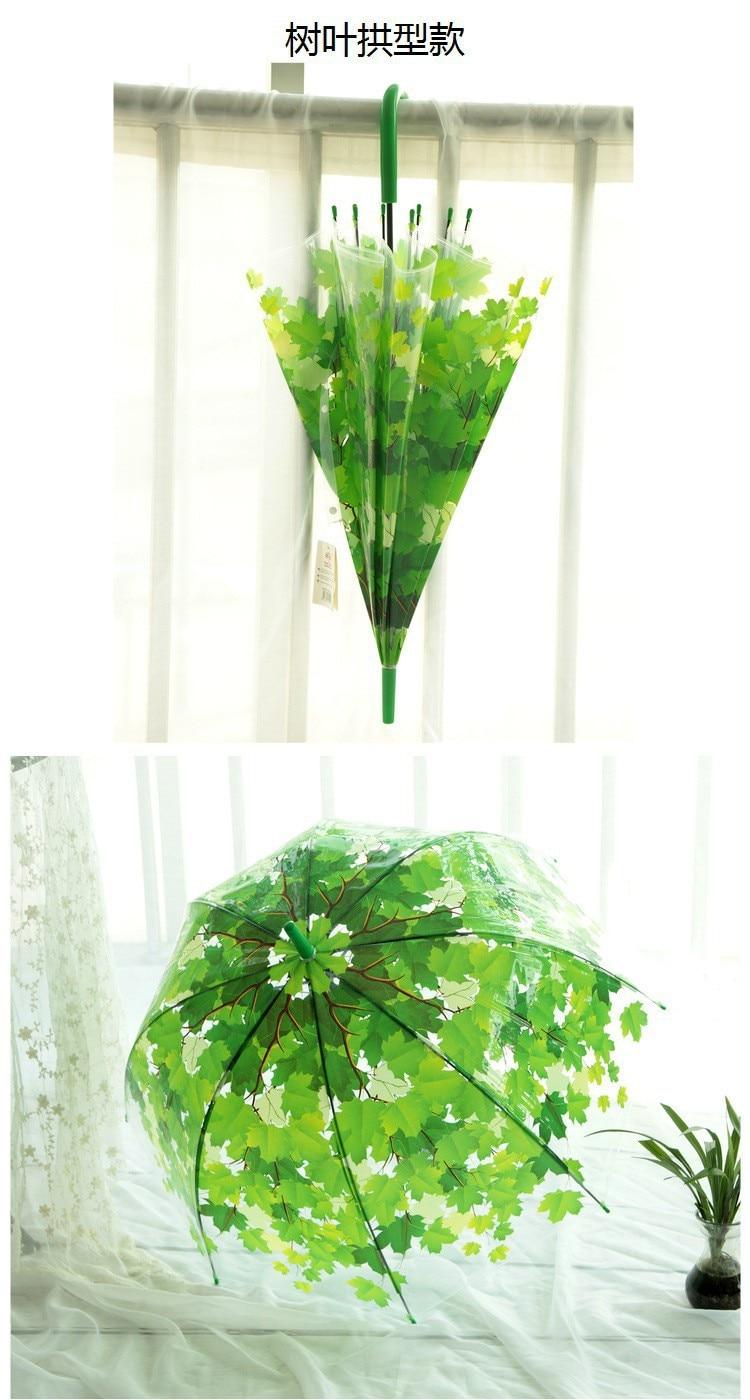 Shade Transparent Umbrella Long Handle Green Leaves Transparent Umbrella Straight wan gou san Bubble pvc san a Generation of Fat