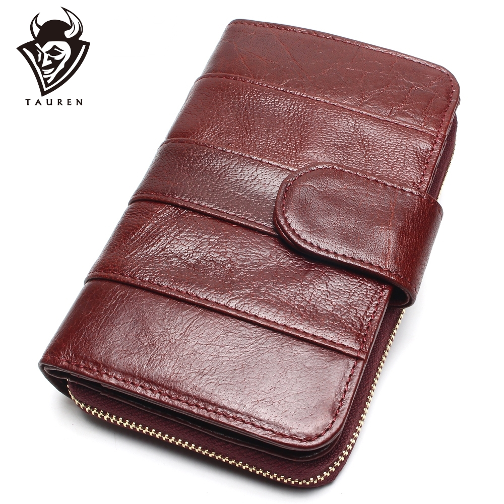 2019 New Style Layer Of Import Oljevax Cowhide Medium Paragraph Buckle Leather Wallet Kvinnors högkvalitativa handväska