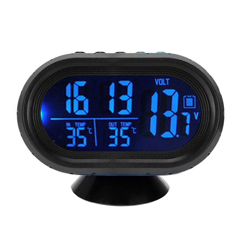 New 3 in 1 Digital LED Electronic Clock Time Thermometer Voltmeter for 12V Car Thermometer Luminous Clock