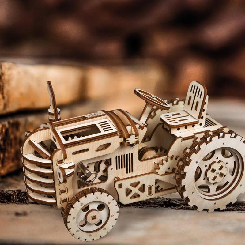 3D Puzzle en bois jouets bricolage assemblé mécanique Locomotive modèle construction jouets en bois Puzzle voitures jouets pour enfants jour cadeaux