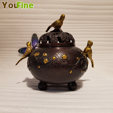 Retro Chinese style bronze bird incense burner decoration Buddhist office gift good traditional method