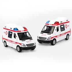 Новые поступления 1:32 больница спасения скорой помощи полиции металлические автомобили модель отступить Звук Свет сплава литья под