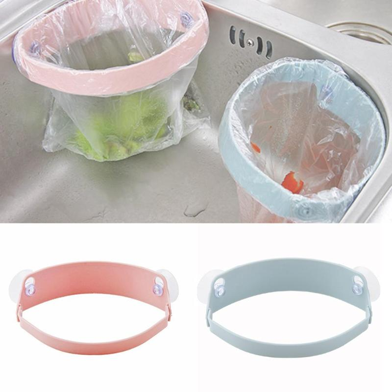 Kitchen Shelf Trash Rack Storage Garbage Bag Holder Suction Cup  Shelf Kitchen Sink Clip Kitchen Cabinets Storage  Cup  Rack Cl