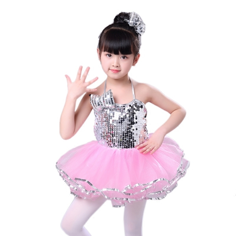 Songyuexia New Kindergarten Sequins Jazz Dance Pompon Skirt Girls Modern Dance Costume