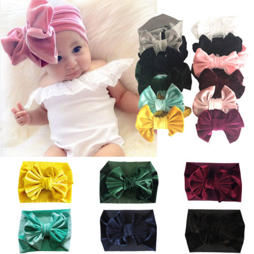Emmababy New Velvet Bow Baby Girl Headband Newborn Toddler Hairband 6cm Soft Elastic + Lot