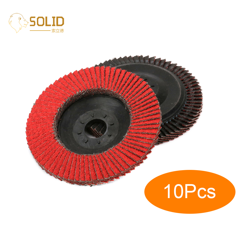 10Pcs 4 Inch Ceramic Flap Sanding Disc 60# Grinding Wheel With 5/8