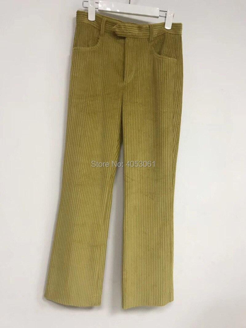Algodón Verde De Amarillo Cálido Nuevo Largos las Pantalones Pantalones verde borgoña borgoña Pana Mujeres damas 2019 amarillo Casual qgqwIfZ
