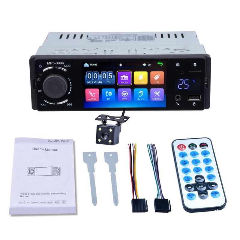 Autoaudio 1DIN Autoradio 4 pouces HD stéréo lecteur multimédia Bluetooth écran tactile Autoradio MP3 MP5 USB FM avec caméra port ISO