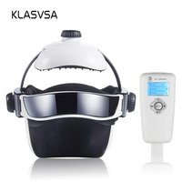 KLASVSA Electric Heating Neck Head Massage Helmet Air Pressure Vibration Therapy Massager Music Muscle Stimulator Health Care