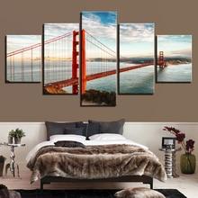 Canvas Wall Art Pictures Home Decor 5 PiecesGolden Gate Bridge Paintings Living Room HD Prints Seascape Framework