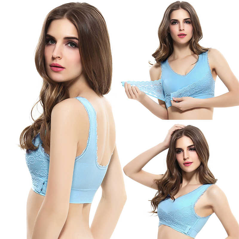 309b1b9ed7 ... Women Push up Bra Crisscross Front V neck and U back Solid Color Side  Fastening Lace ...