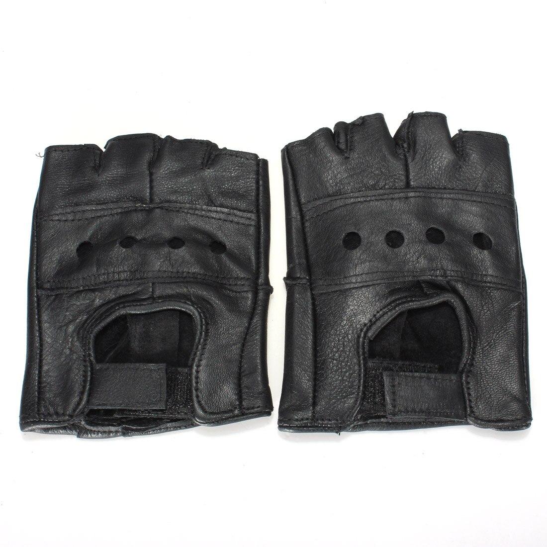 2 stücke M Schwarz Medium Fingerlose Leder Motorrad Handschuh Entlüftet Rindsleder Multi-verwenden Halb Finger Leder
