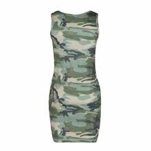 2b8fd48206609 Womens Camouflage Bodycon Tunic T-shirts Dress Clubwear Summer Casual  Sundress Empire Sleeveless O Neck