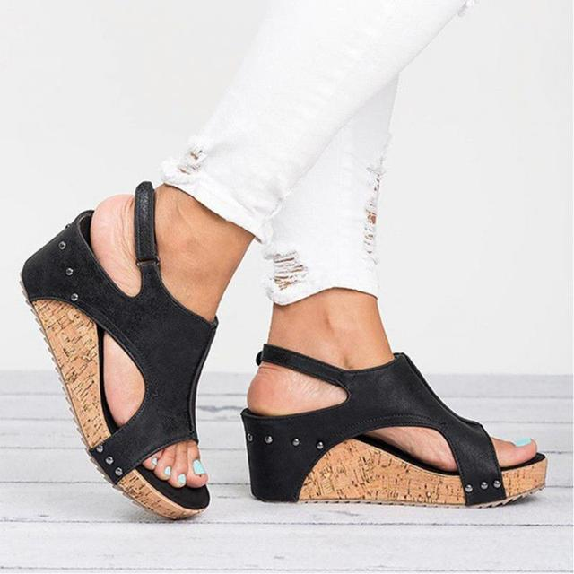 dc62ee976b2 Women Summer Buckle Sandals Flock with Wide Open Toe High Platform Wedge  Heel with an Open Toe Female sandals