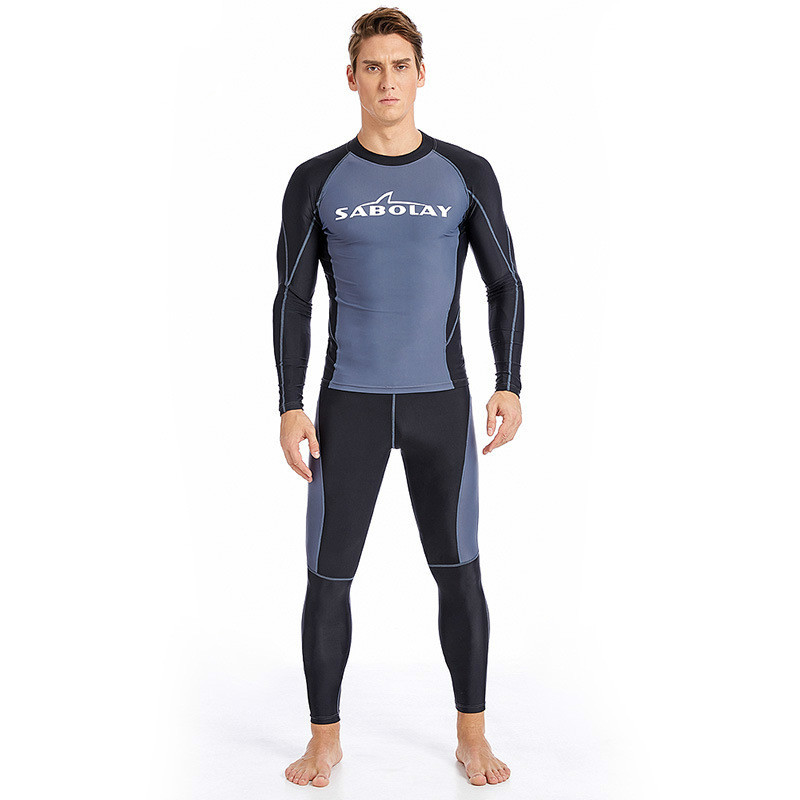 Mens Sports Suits Outdoor Movement Tight Kitesurfing Wetsuit Long-Sleeve Split Swimsuit Male Surf Diving Snorkeling