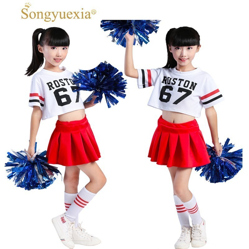 Songyuexia Children Cheerleading Dance Costumes Girl Hip-Hop Modern Stage Dance Costumes  Jazz Dance Child Costume 110-170xm