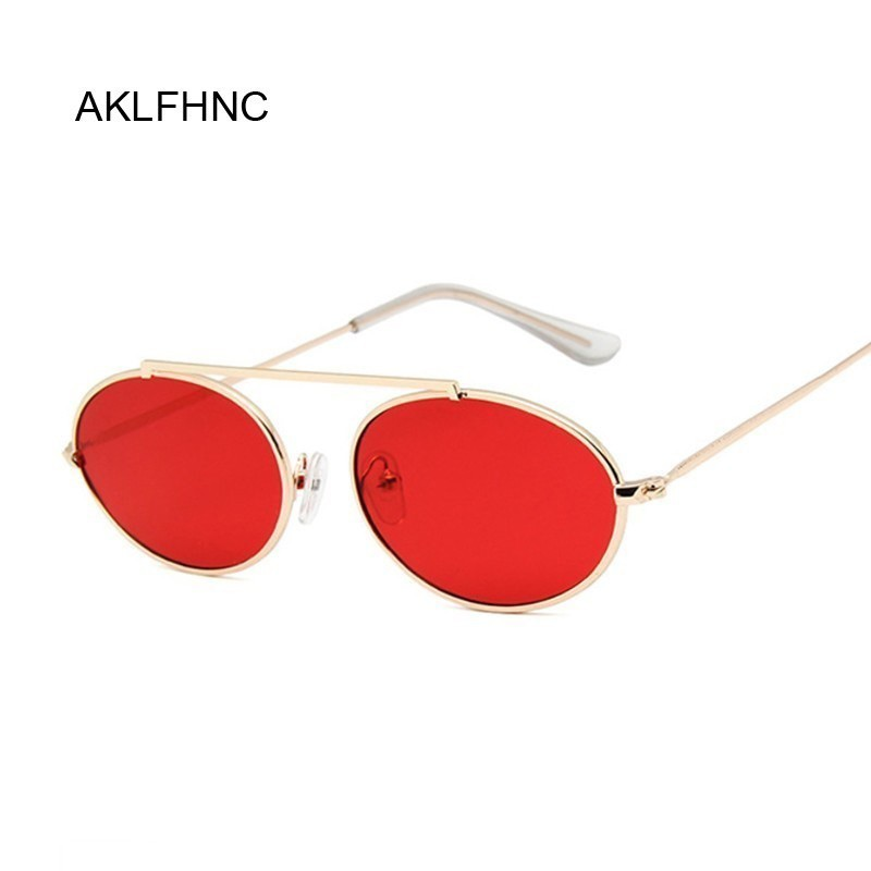Small Oval Mirror Sunglasses Women Red Luxury Female Brand Designer Eyewear Shades Ladies Alloy Sun Glasses UV400 Eyeglass