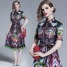 Vestido elegante Casual con estampado Floral Vintage de manga corta para mujer de verano 2019 de diseñador de moda de calidad