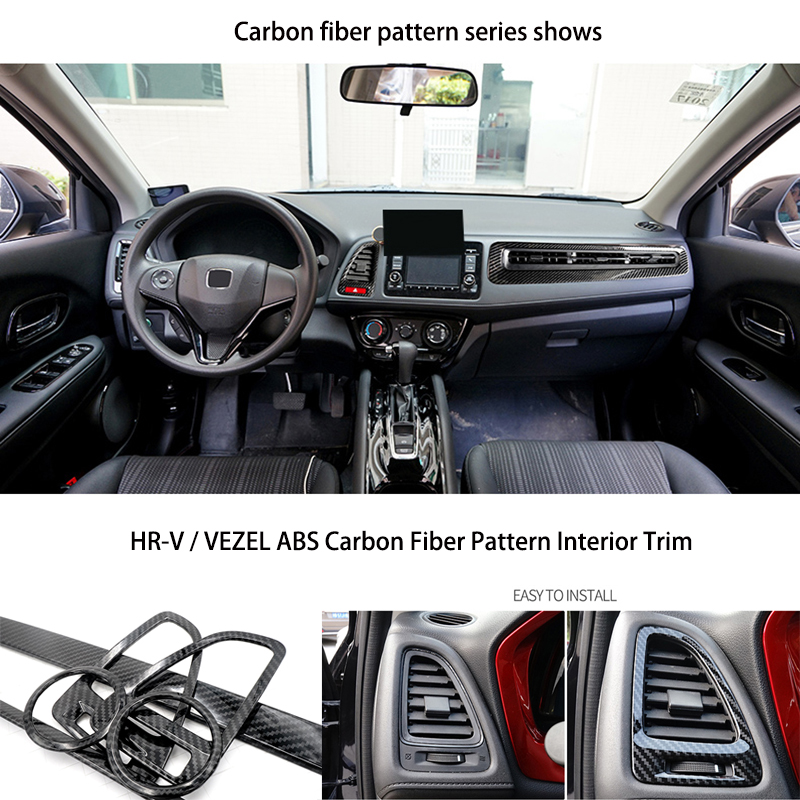 Carbon Fiber Interior Trim fit for HR-V Vezel Car Center Console Mouldings ABS Plastic Auto Accessories Styling