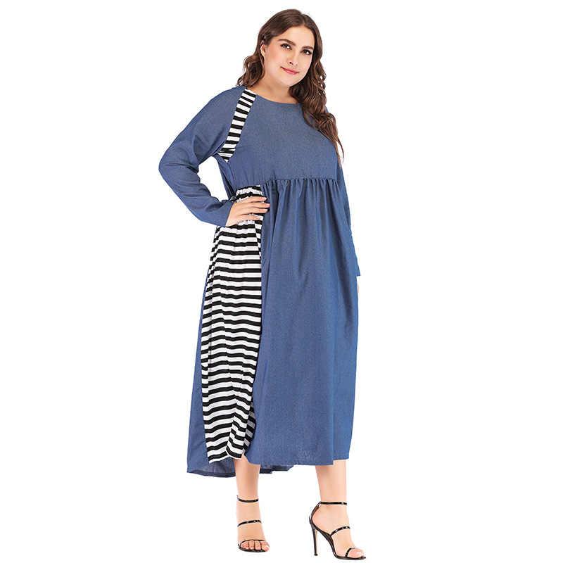 Romacci Новое джинсовое длинное платье в полоску с нашивками, длинный рукав, женское платье больших размеров XXXL 4XL, приталенное платье выше размера d, свободное Макси-платье синего цвета