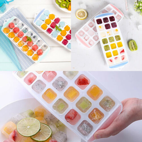 Ice Cube Tray Easy Pop out Maker Plastic Silicone Top Mould 21 Jelly with Lids 1