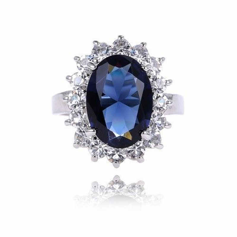 For Women Engagement Ring Jewelry Lady Palace Princess Diana William Kate Middleton's  Silver Blue Color Size 5-10 Fashion