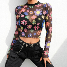 a2775b7e Meihuida Sexy Mesh See Through Women Sparkle Sheer Floral Long Sleeve T- Shirt Club
