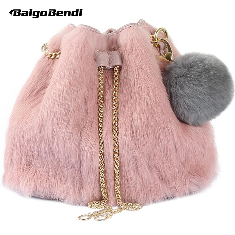Hot Sale Soft And Smooth Faux Fur Bucket Bag Woman Lovely Ball Small Bag Girls Mini Bag Trend Chain Handbag in Top Handle Bags from Luggage Bags