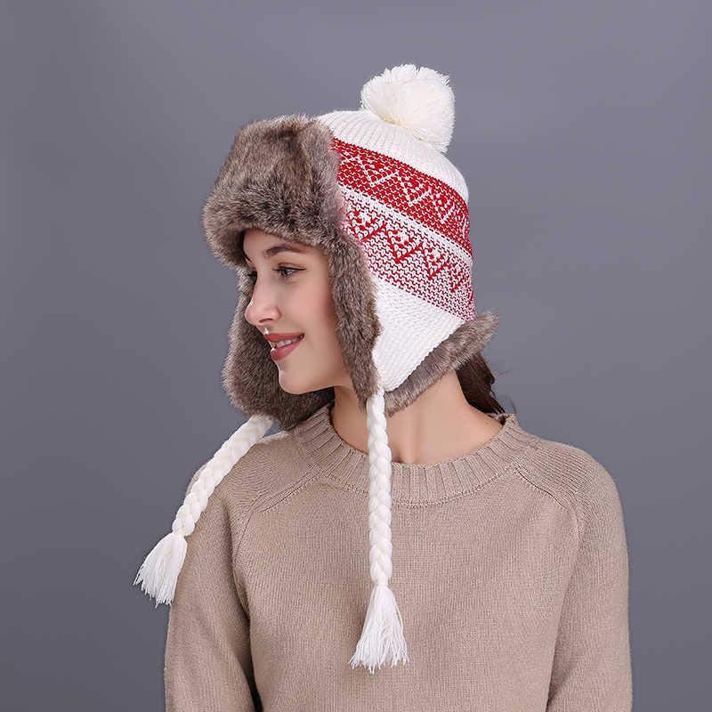 08f67563b956b Kenancy Bomber Hat Women Winter Wool Snow Hats Pom Christmas Knitwer  Trapper Aviator Cap Fox Fur