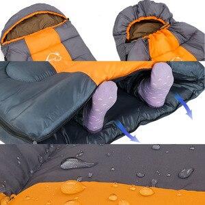 Image 4 - Wind Tour Herfst Winter Envelop Hooded Outdoor Reizen Camping Water Proof Dikke 1.3Kg Slaapzak Thermische Volwassen Bed lui Tas