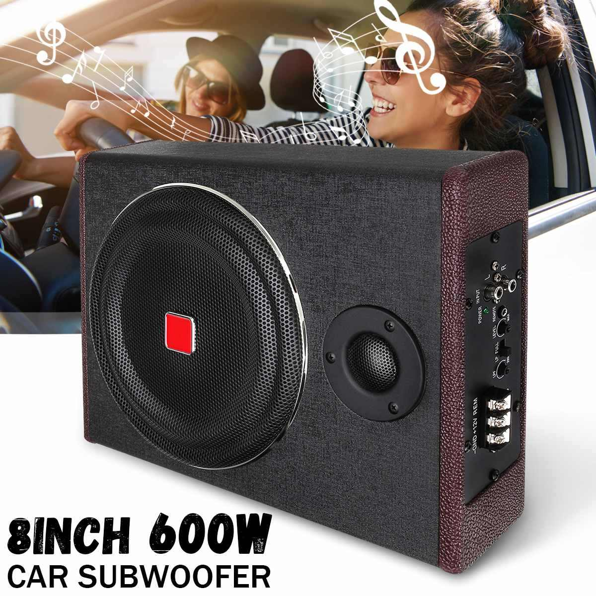 8 Inch 600W Car Subwoofers Car Amplifier Subwoofers Car Speaker Active Subwoofer Car Under Seat Slim Sub Woofer AMP Super Bass