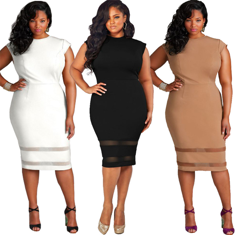 XL-5XL Large Size 2019 Spring Dress Big Elegance Sleeveless Lace Women Dresses Plus Clothing Vestidos